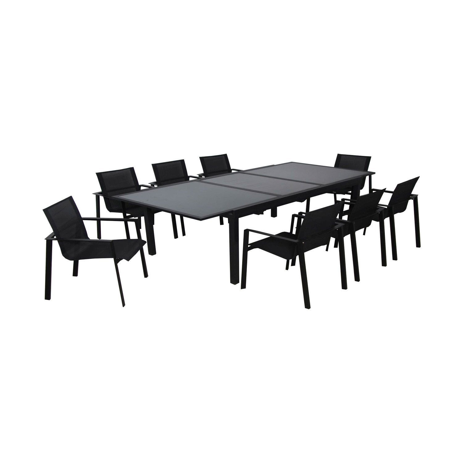 Table de jardin miami rectangulaire noir leroy merlin for Table de nuit leroy merlin