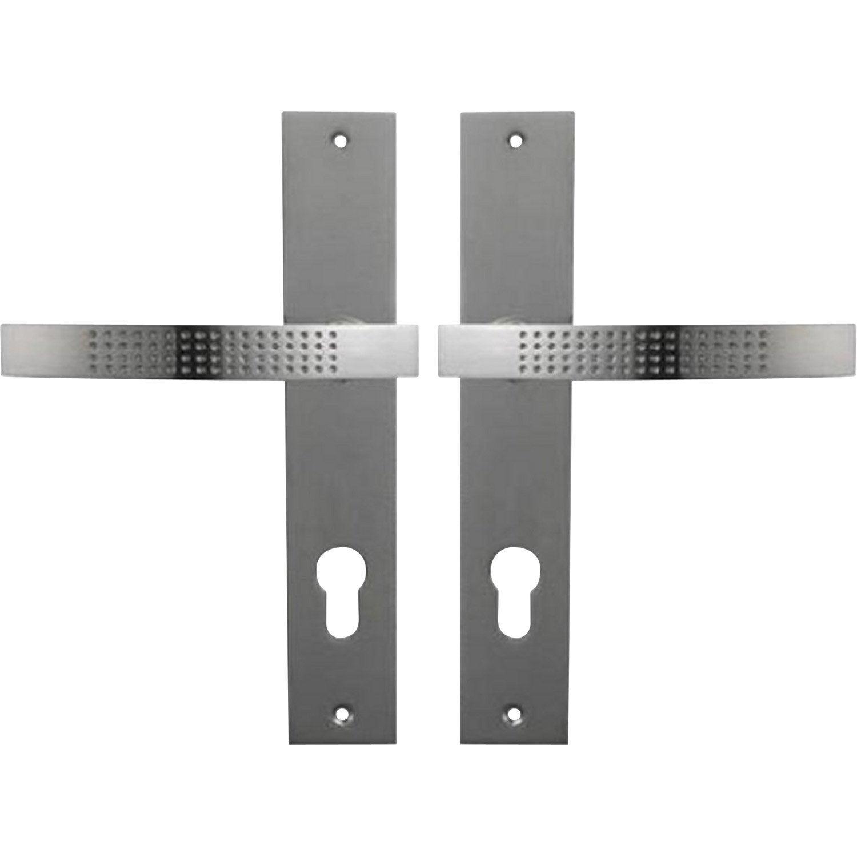 2 poign es de porte louna trou de cylindre zinc nickel 165 mm leroy merlin. Black Bedroom Furniture Sets. Home Design Ideas