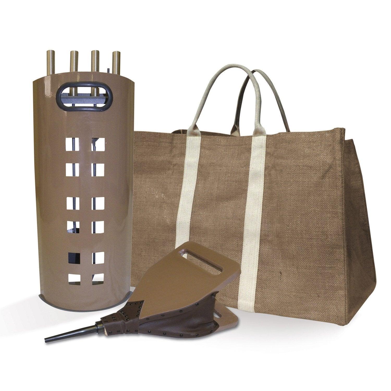 kit serviteur soufflet et sac b ches acier bois toile de. Black Bedroom Furniture Sets. Home Design Ideas