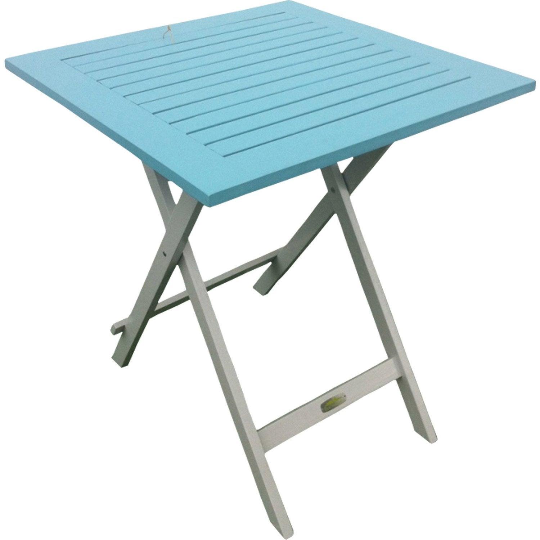 Table de jardin city green burano carr e bleu 2 personnes leroy merlin - Table jardin carree personnes ...