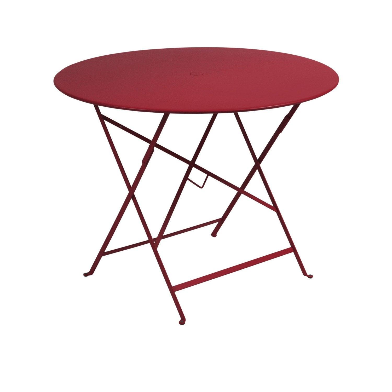 Table de jardin fermob bistro ronde piment 4 personnes for Table ronde 4 personnes