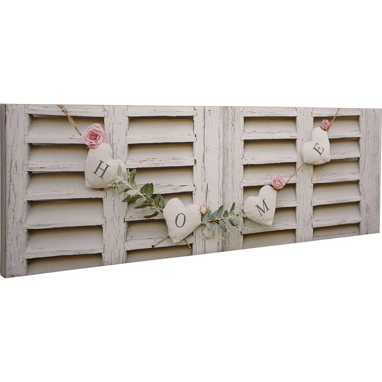 toile imprim e volet roses mot home 90x30 cm leroy merlin. Black Bedroom Furniture Sets. Home Design Ideas