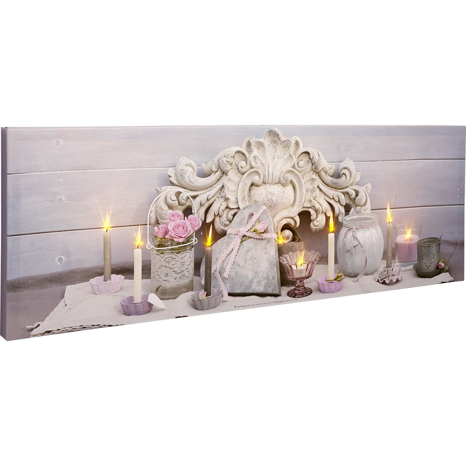 toile led coeur roses roses bougies pots 90x30 cm. Black Bedroom Furniture Sets. Home Design Ideas