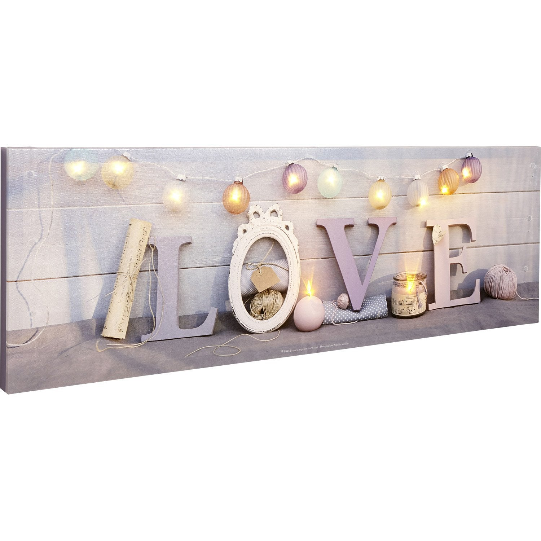 Toile led mot love guirlande bougies 90x30 cm leroy for Encadrement tableau leroy merlin