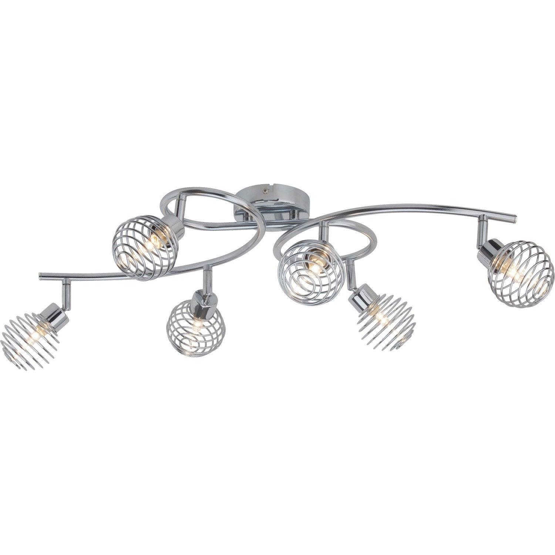 plafonnier 6 spots sans ampoule 6 x g9 chrome charlie brilliant leroy merlin. Black Bedroom Furniture Sets. Home Design Ideas