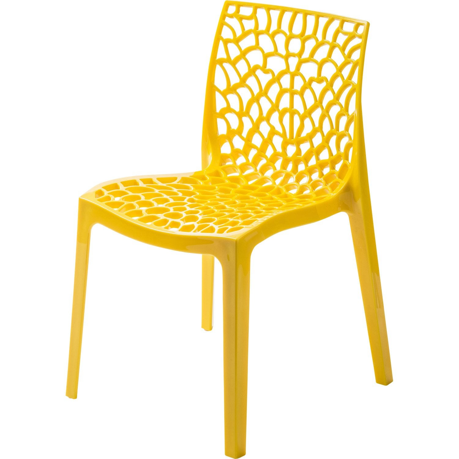 Chaise de jardin en r sine grafik jaune leroy merlin for Chaise longue en resine