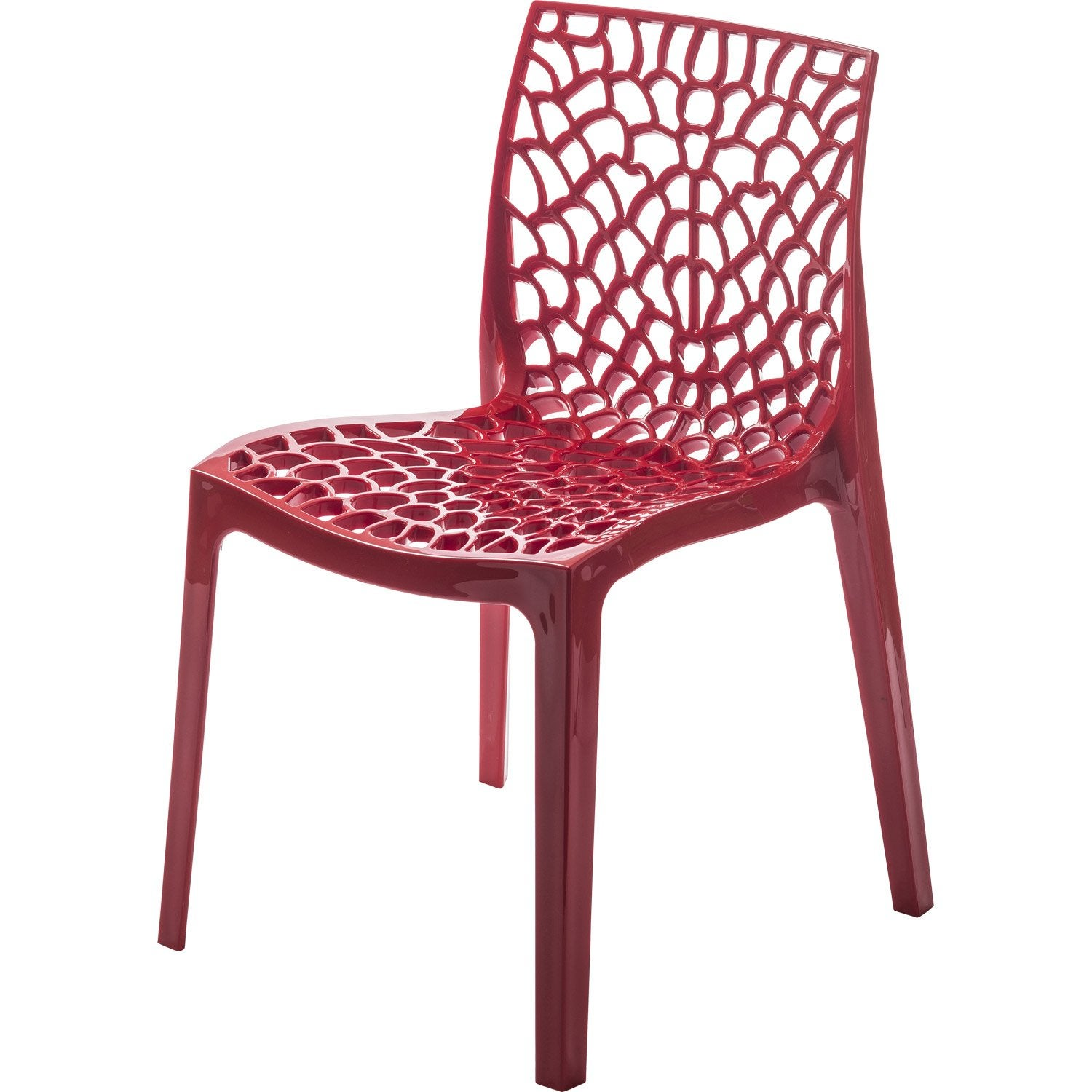 Chaise de jardin en r sine grafik rouge leroy merlin for Chaise cuisine rouge
