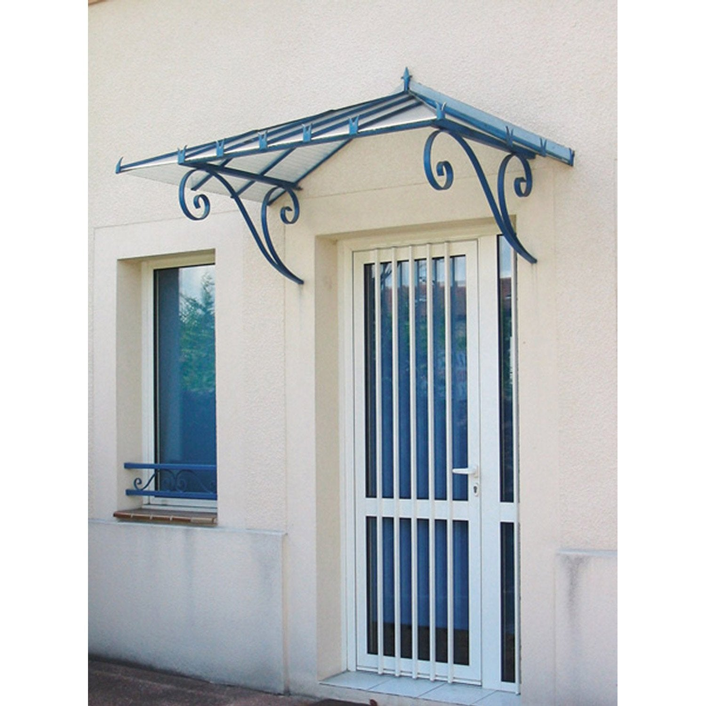 Marquise en fer pr peint beaumont haut 76cm leroy merlin - Auvent en verre pour maison ...