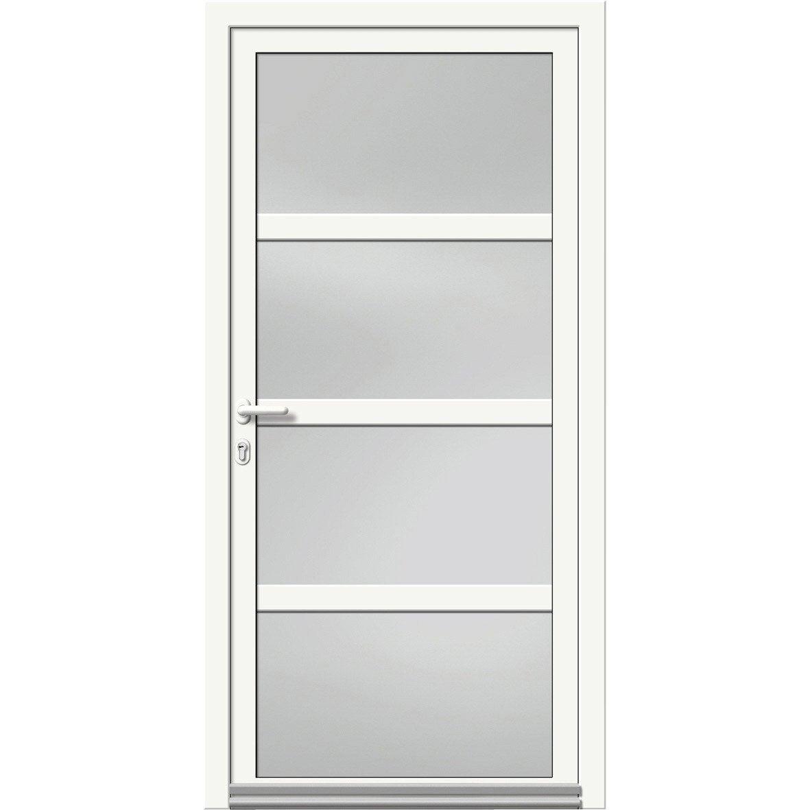 Porte d 39 entr e aluminium nova artens poussant gauche h215 x l90 cm leroy merlin - Porte d entree 200 x 90 ...