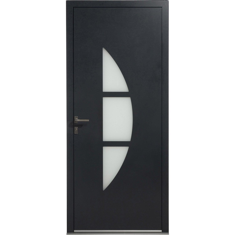 Porte d 39 entr e aluminium omaha excellence poussant gauche - Porte entree alu leroy merlin ...
