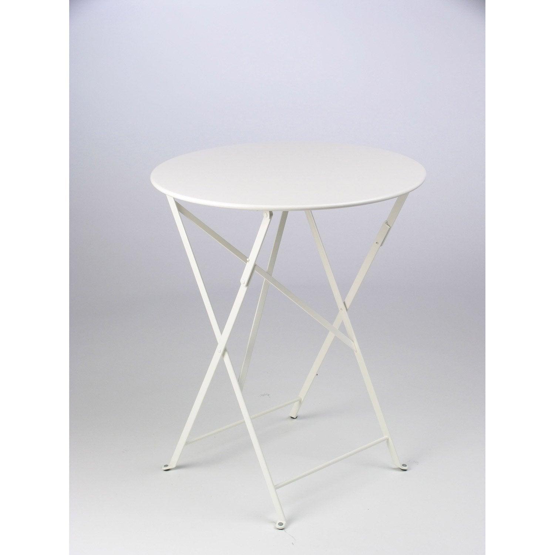 Table De Jardin Fermob Bistro Ronde Blanche 2 Personnes