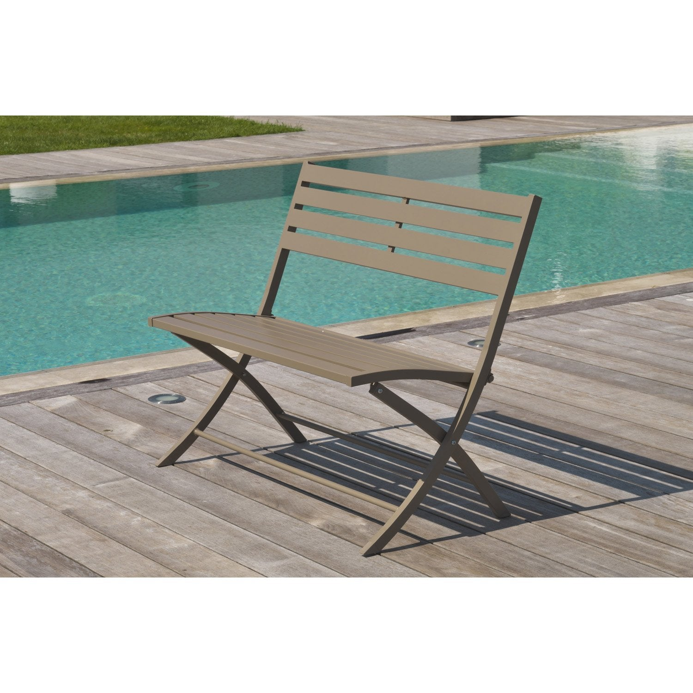 banc 2 places de jardin en aluminium marius beige leroy merlin. Black Bedroom Furniture Sets. Home Design Ideas