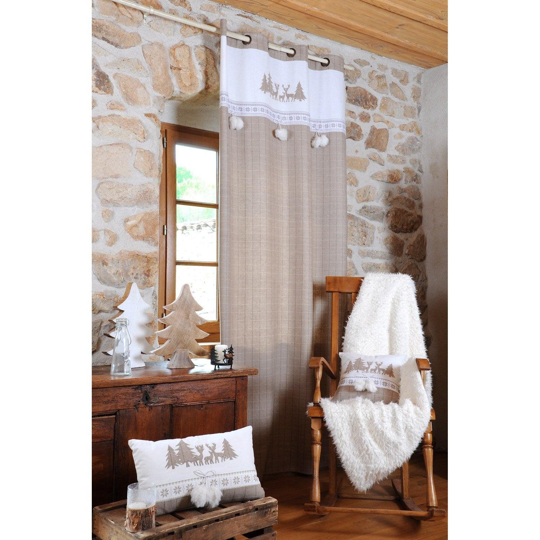 rideau tamisant wapiti lin x cm leroy merlin. Black Bedroom Furniture Sets. Home Design Ideas