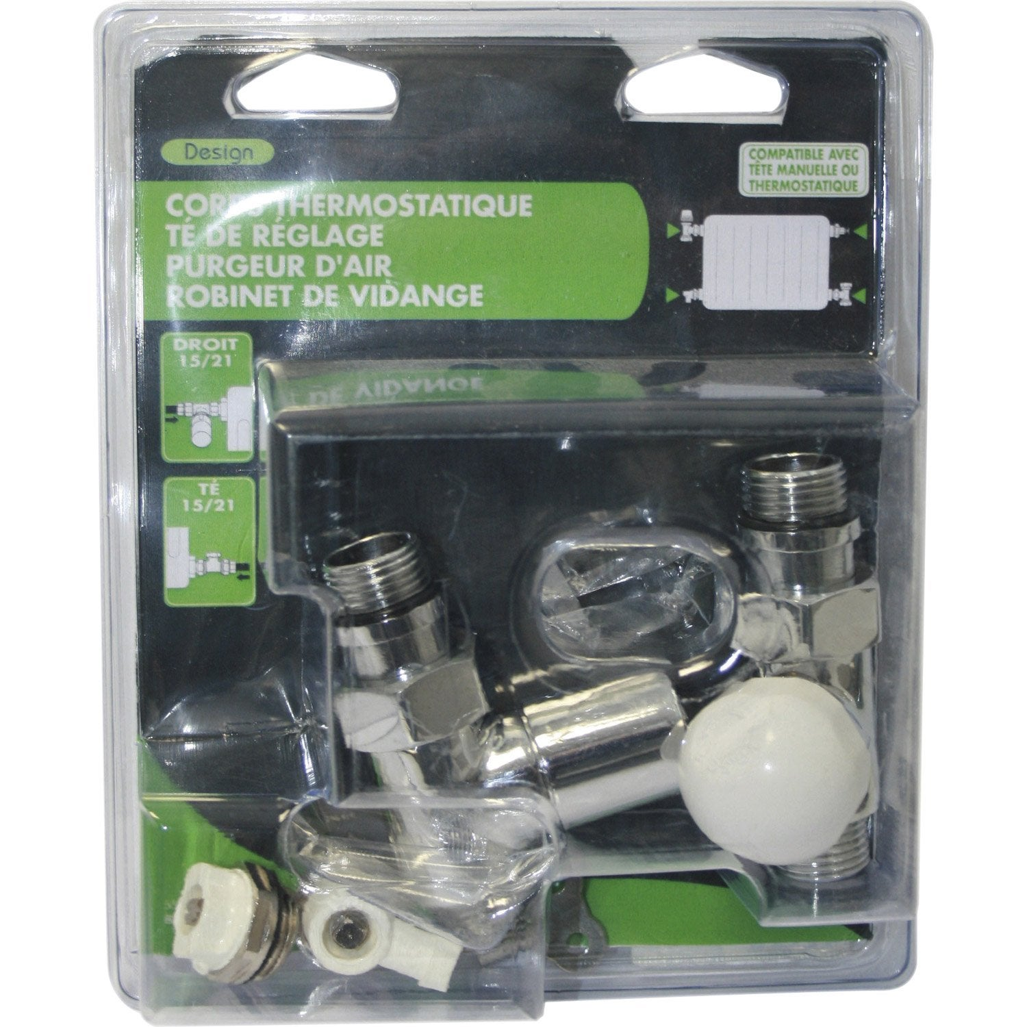 Kit de robinet thermostatique 15 21 m le femelle en laiton chrom ecopro - Thermostat leroy merlin ...
