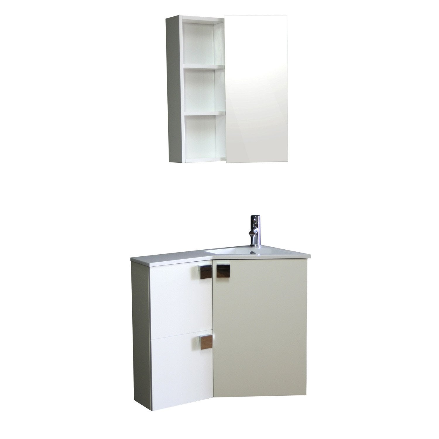 Meuble sous vasque corner blanc leroy merlin for Meuble vasque leroy merlin