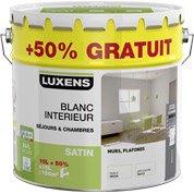 Peinture murs et plafonds LUXENS, blanc satin, 10L + 50% gratuit