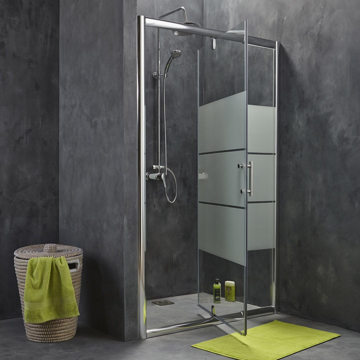 porte de douche pivotante 96 5 122 cm profil chrom optima2 leroy merlin. Black Bedroom Furniture Sets. Home Design Ideas