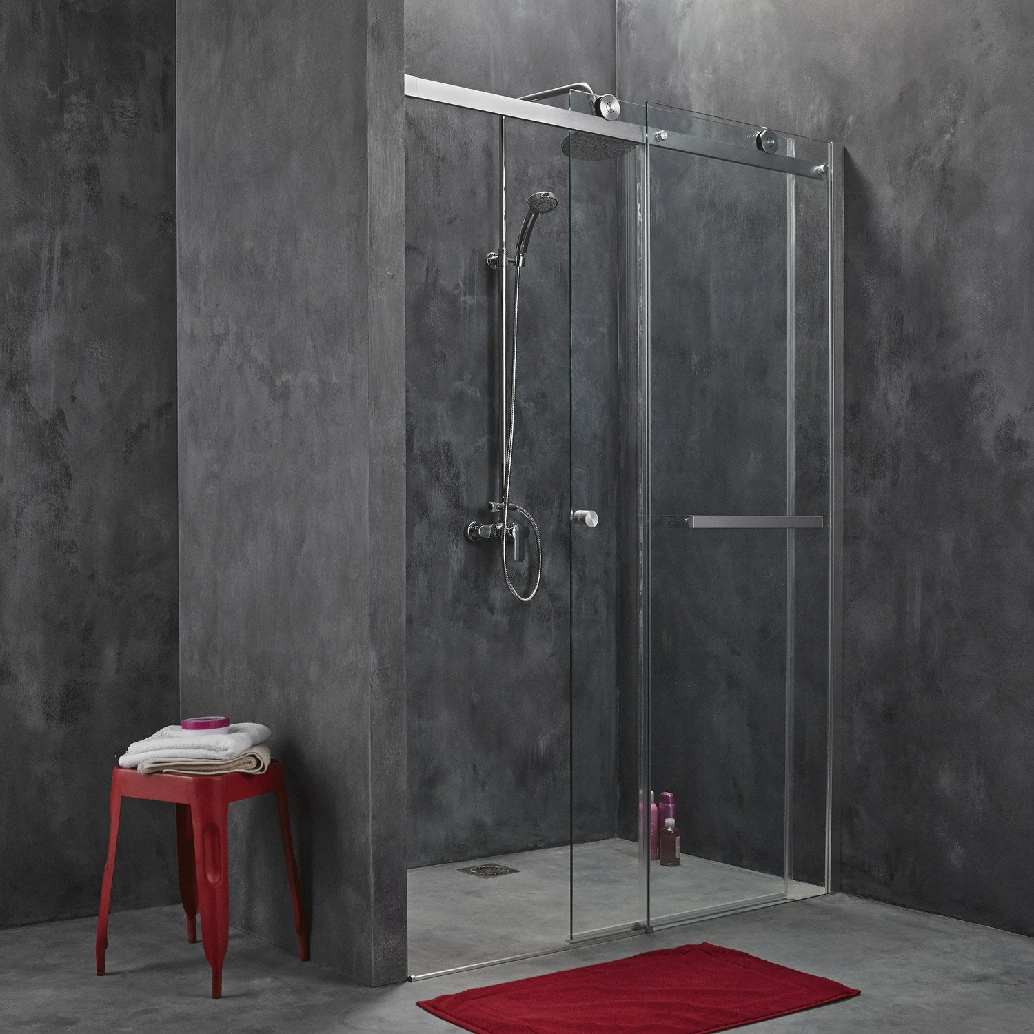 porte de douche coulissante fabrik verre transparent chrom 140 cm leroy merlin. Black Bedroom Furniture Sets. Home Design Ideas