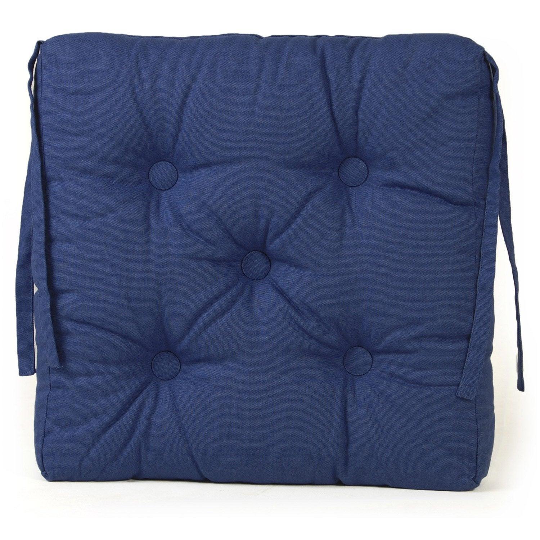 Galette de chaise cl a inspire bleu bleu n 1 x x h 7 cm leroy m - Coussin de chaise de jardin 45x45 ...