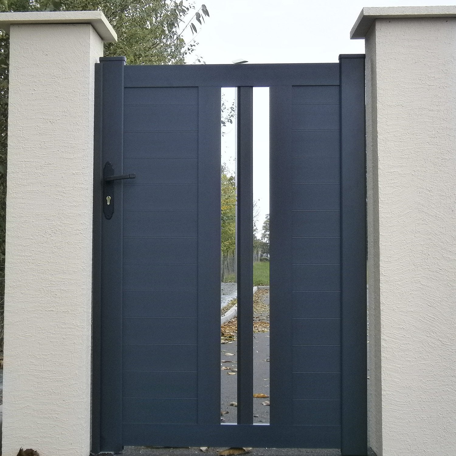Portillon battant ceres x cm anthracite for Porte exterieur de jardin leroy merlin
