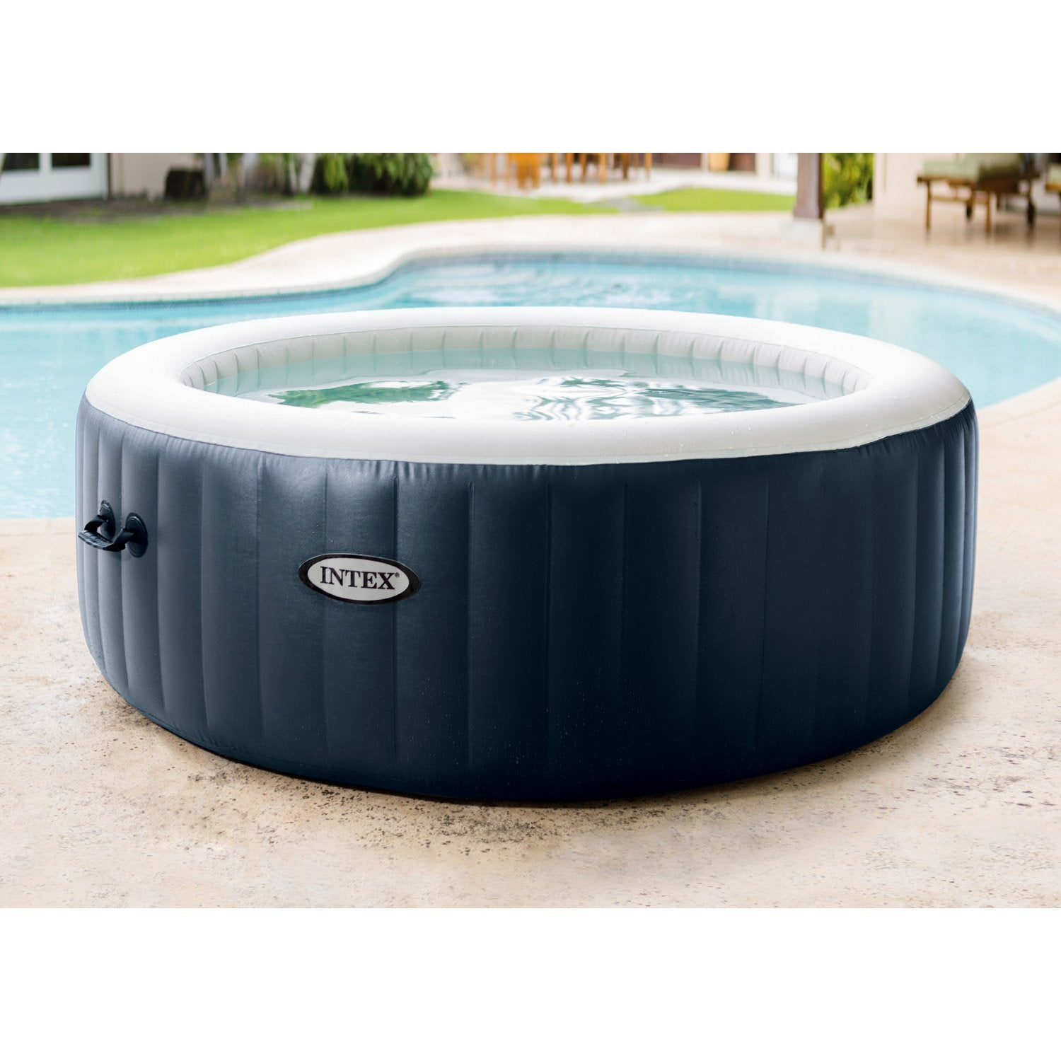 Spa gonflable intex purespa bulles blue navy rond 6 places assises leroy m - Jacuzzi gonflable 2 places ...