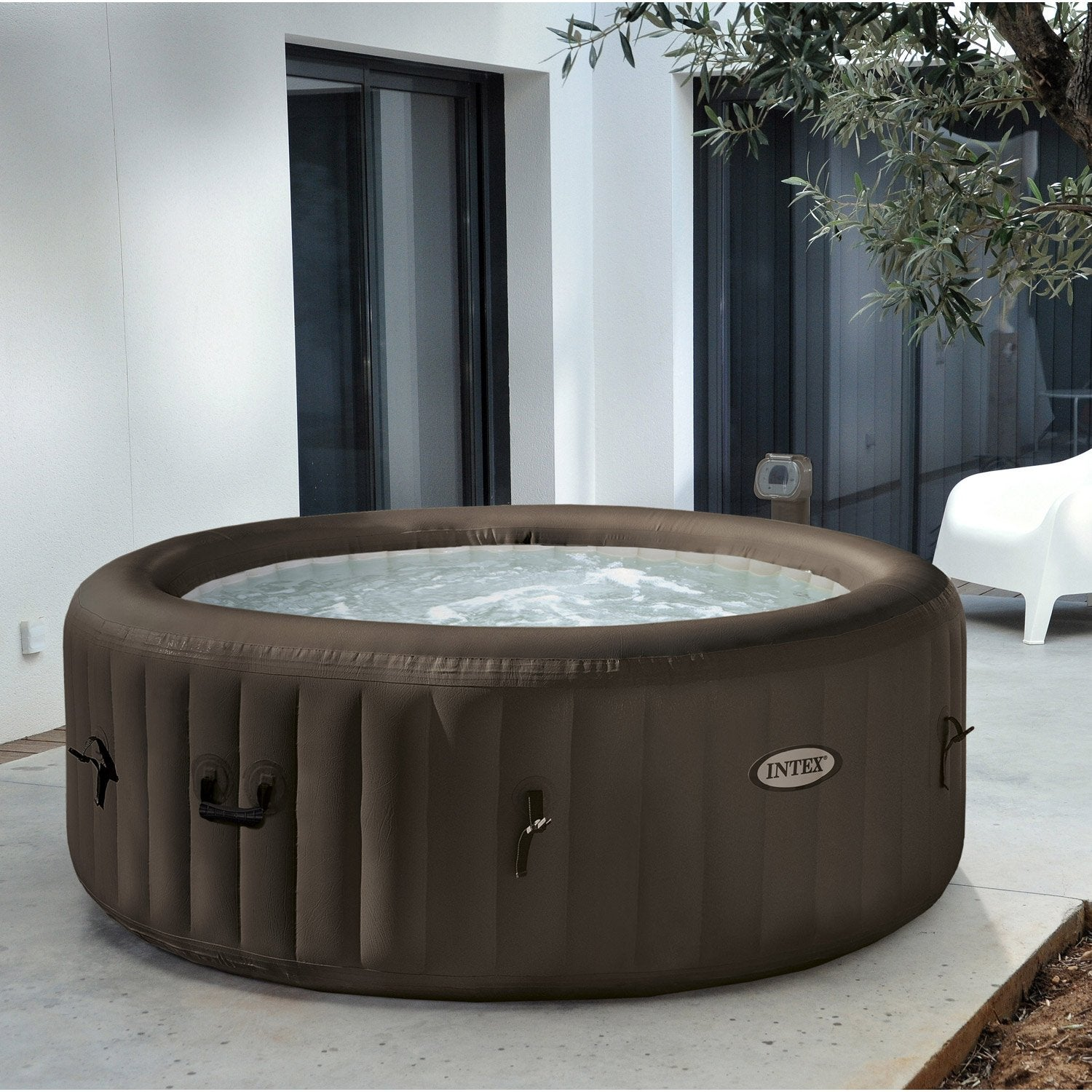 Spa gonflable intex purespa jets rond 4 places assises leroy merlin - Produit pour jacuzzi gonflable ...