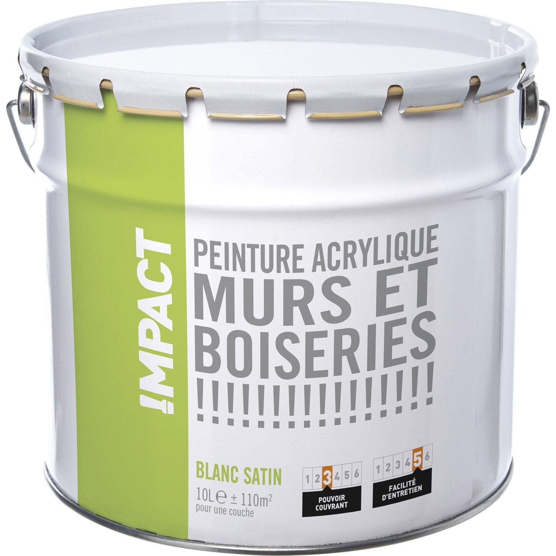 Peinture blanche mur et boiserie impact satin 10 l leroy merlin - Pot de peinture prix ...