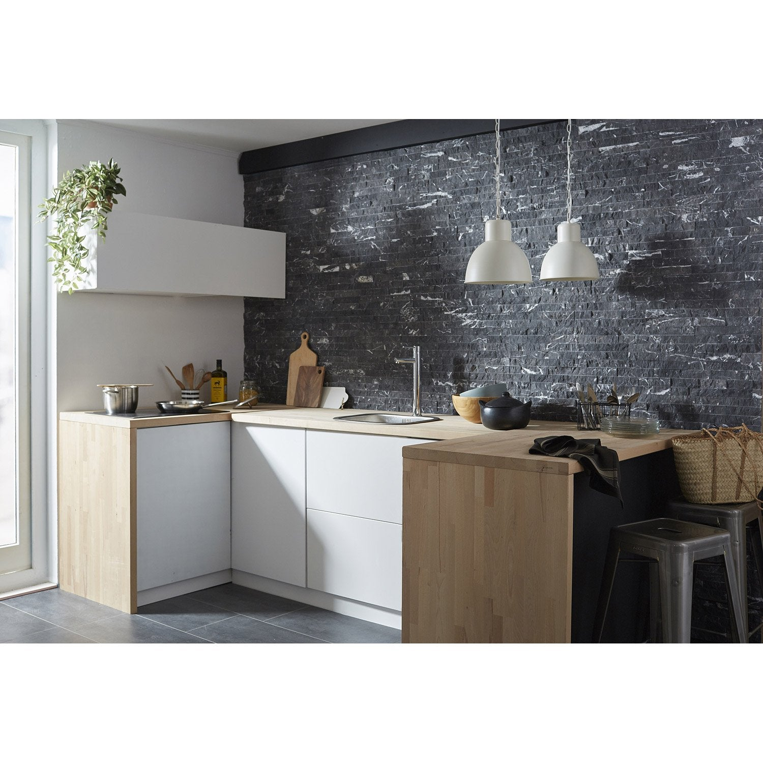 Plaquette de parement pierre naturelle anthracite cottage - Parement pierre naturelle interieur ...
