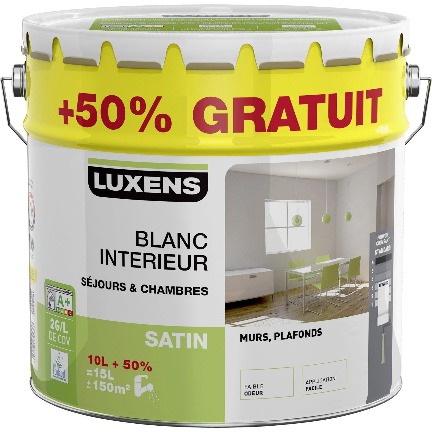 peinture murs et plafonds luxens blanc satin 10l 50 gratuit leroy merlin. Black Bedroom Furniture Sets. Home Design Ideas