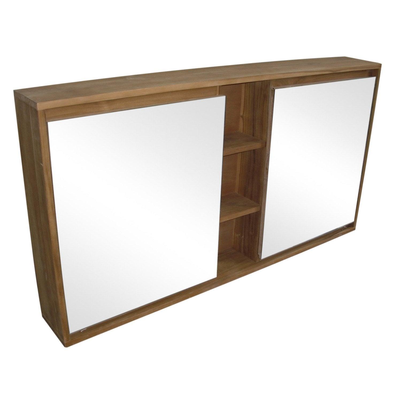 armoire de toilette en teck naturel borneo l130xh70xp17 5. Black Bedroom Furniture Sets. Home Design Ideas