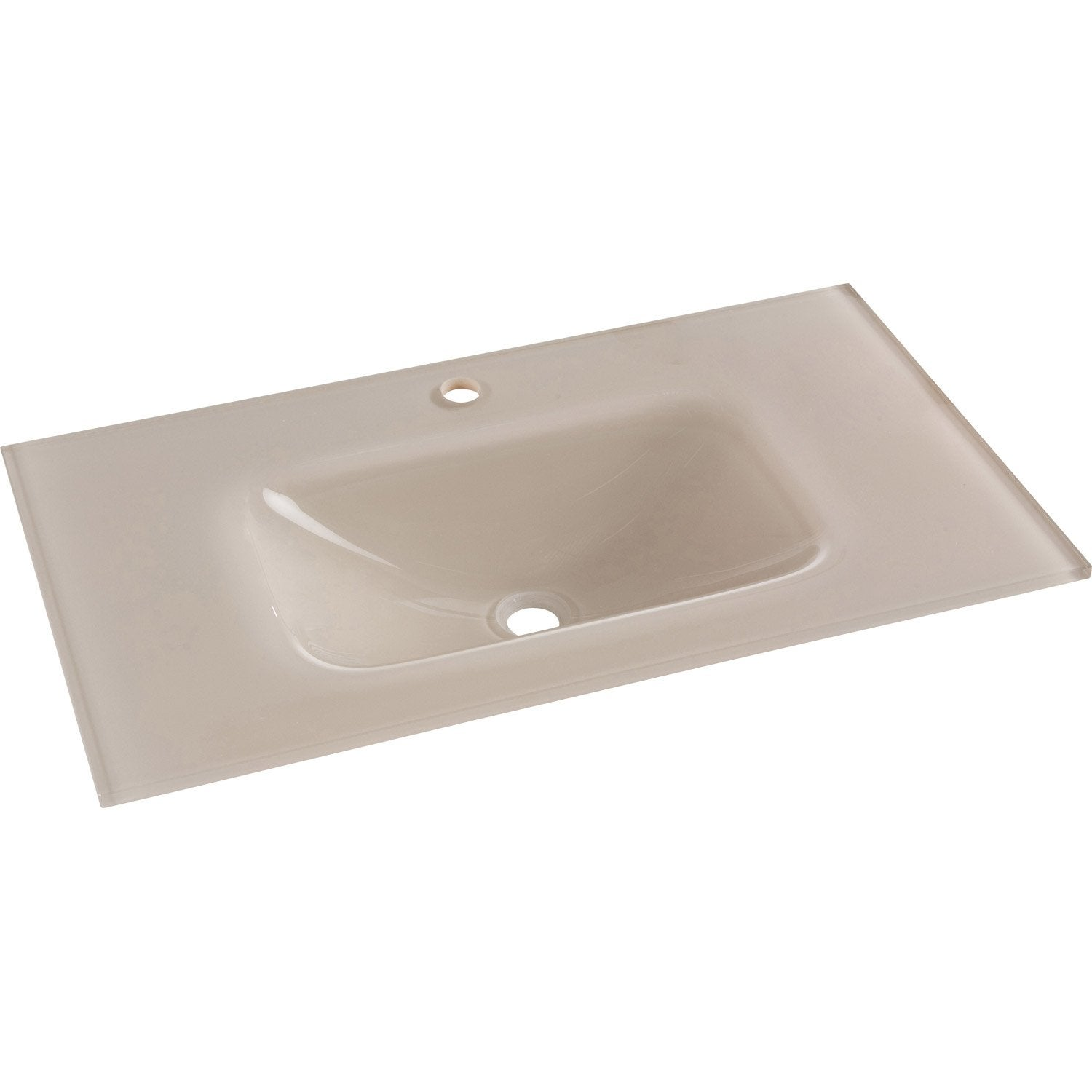 Plan simple vasque opale verre tremp beige cm leroy merlin - Verre trempe leroy merlin ...