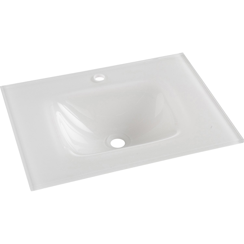 Plan simple vasque opale verre tremp blanc cm leroy merlin - Plan double vasque verre trempe ...