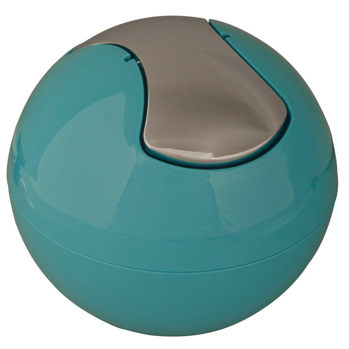 poubelle de salle de bains bowl, bleu atoll n°4  leroy merlin