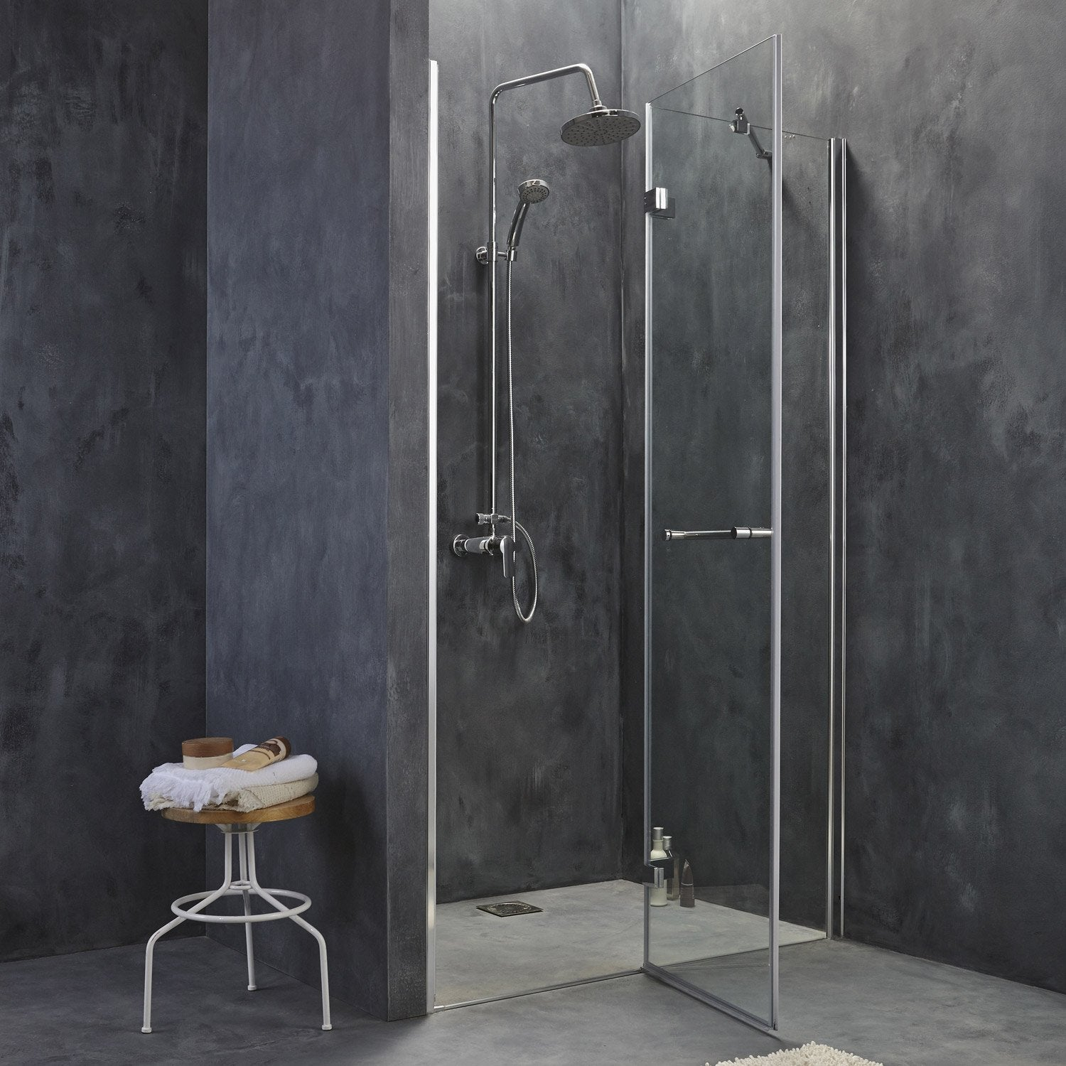 Porte de douche pivotante 120 cm transparent open2 for Leroy merlin porte douche