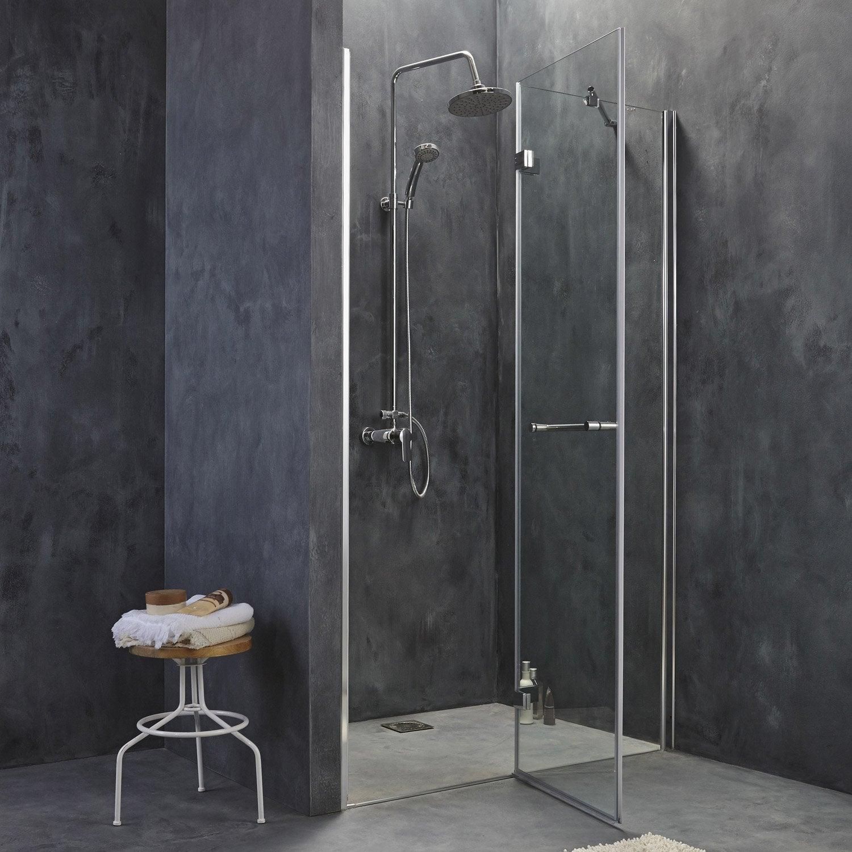 Porte de douche pivotante open 2 verre de s curit - Porte en verre leroy merlin ...