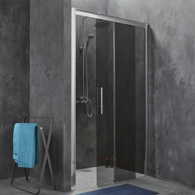 Porte de douche coulissante breuer adena verre de s curit fum leroy merlin - Porte de douche 120 ...