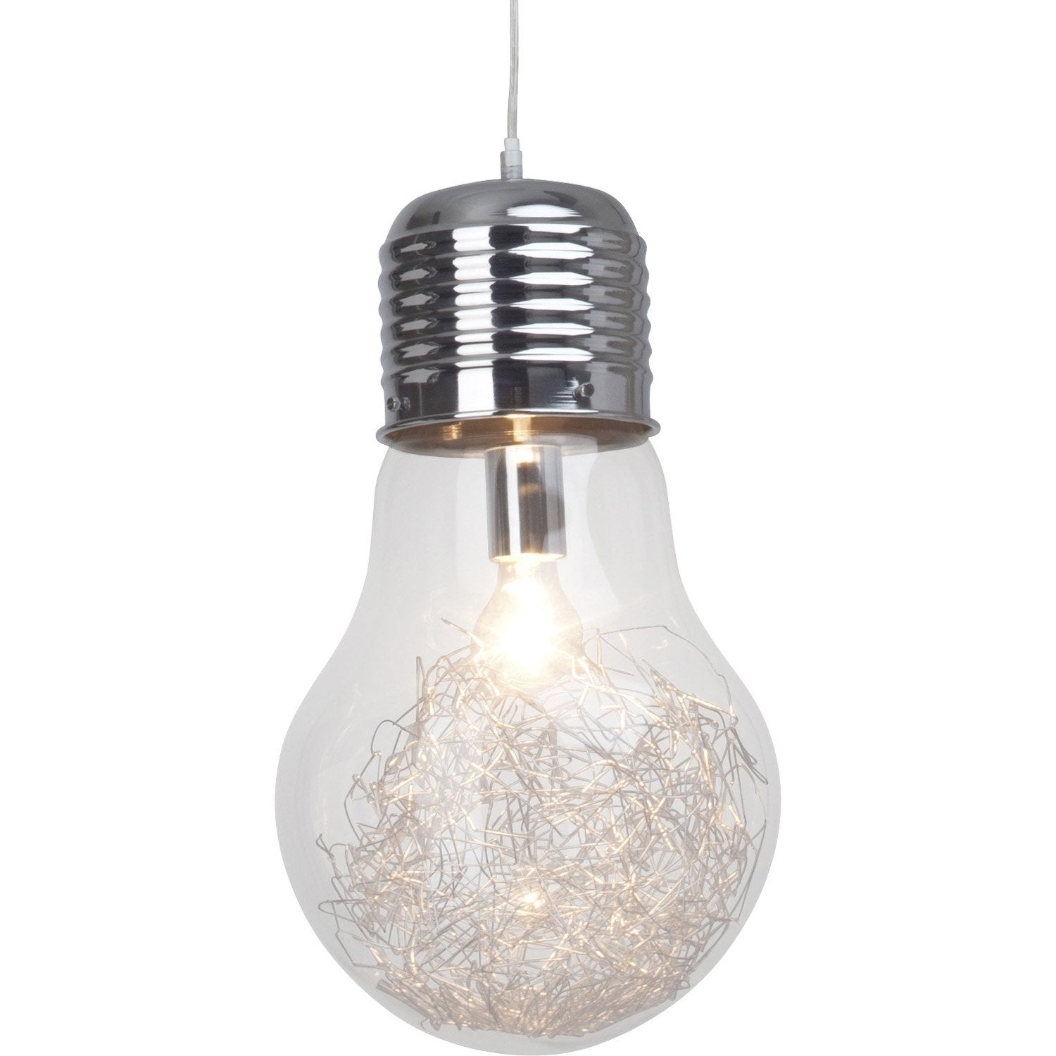 Suspension e27 design bulb verre transparent 1 x 60 w - Lampe baladeuse leroy merlin ...