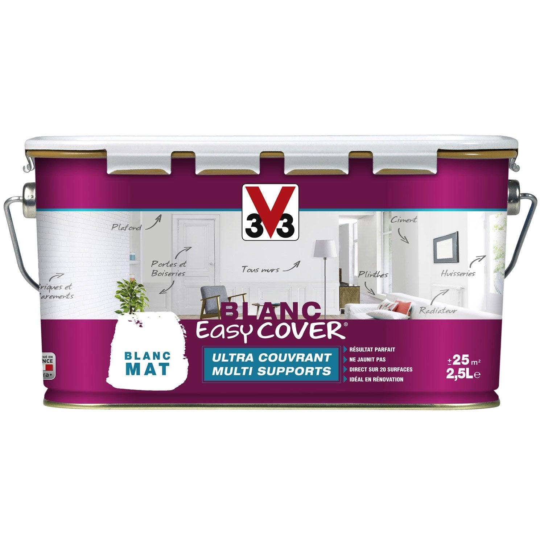 Peinture blanche mur plafond et boiserie easy cover v33 mat 2 5 l leroy m - Peinture v33 plafond ...