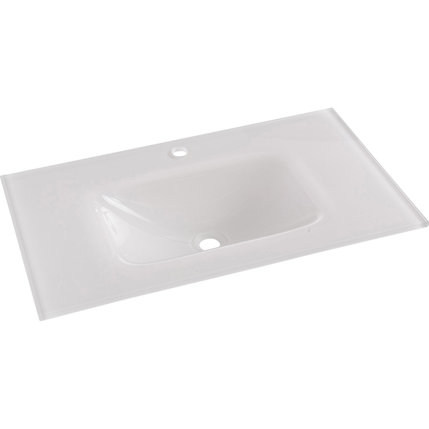 plan vasque simple opale verre tremp 81 cm leroy merlin - Vasque Salle De Bain Verre Trempe