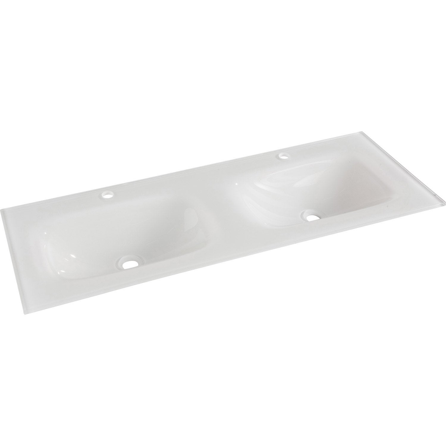 Plan vasque double opale verre tremp 121 0 cm leroy merlin for Vasque salle de bain a encastrer