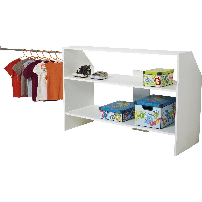 module d 39 am nagement sous comble avec penderie blanc h90. Black Bedroom Furniture Sets. Home Design Ideas