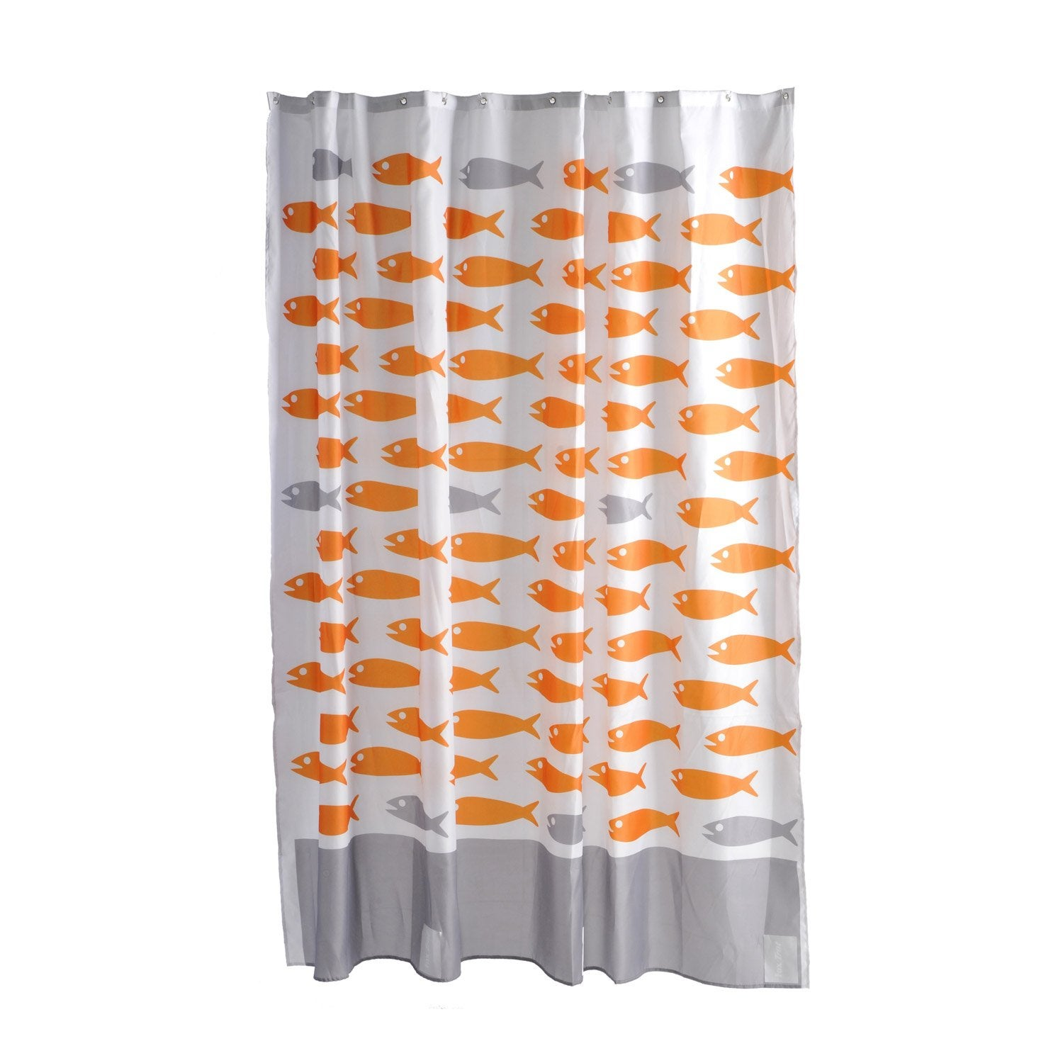 rideau de douche en tissu luna fish sensea orange 180 x 200 cm leroy merlin. Black Bedroom Furniture Sets. Home Design Ideas