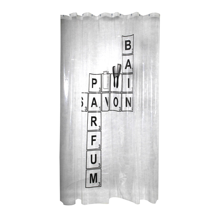 rideau de douche en plastique x cm noir noir n 0 word sensea leroy merlin. Black Bedroom Furniture Sets. Home Design Ideas