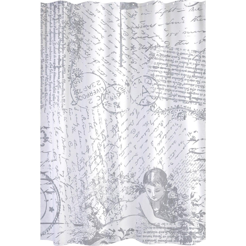Rideau de douche en tissu angel sensea blanc noir 180 x 200 cm leroy merlin - Tissu tendu leroy merlin ...