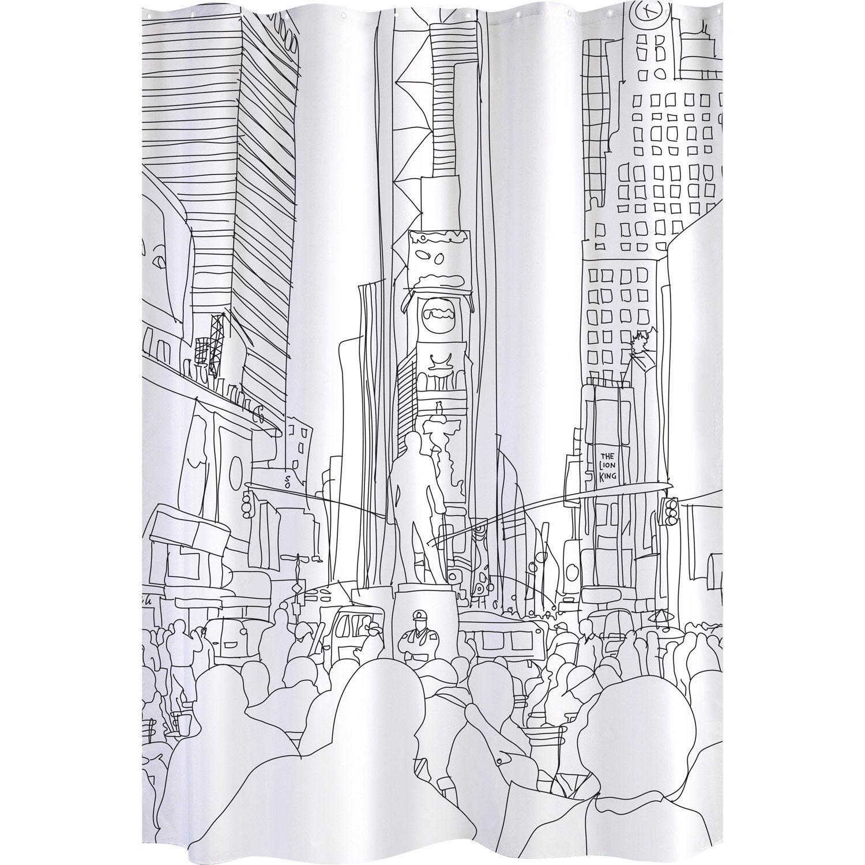 rideau de douche en tissu one way sensea blanc noir 180 x 200 cm leroy merlin. Black Bedroom Furniture Sets. Home Design Ideas