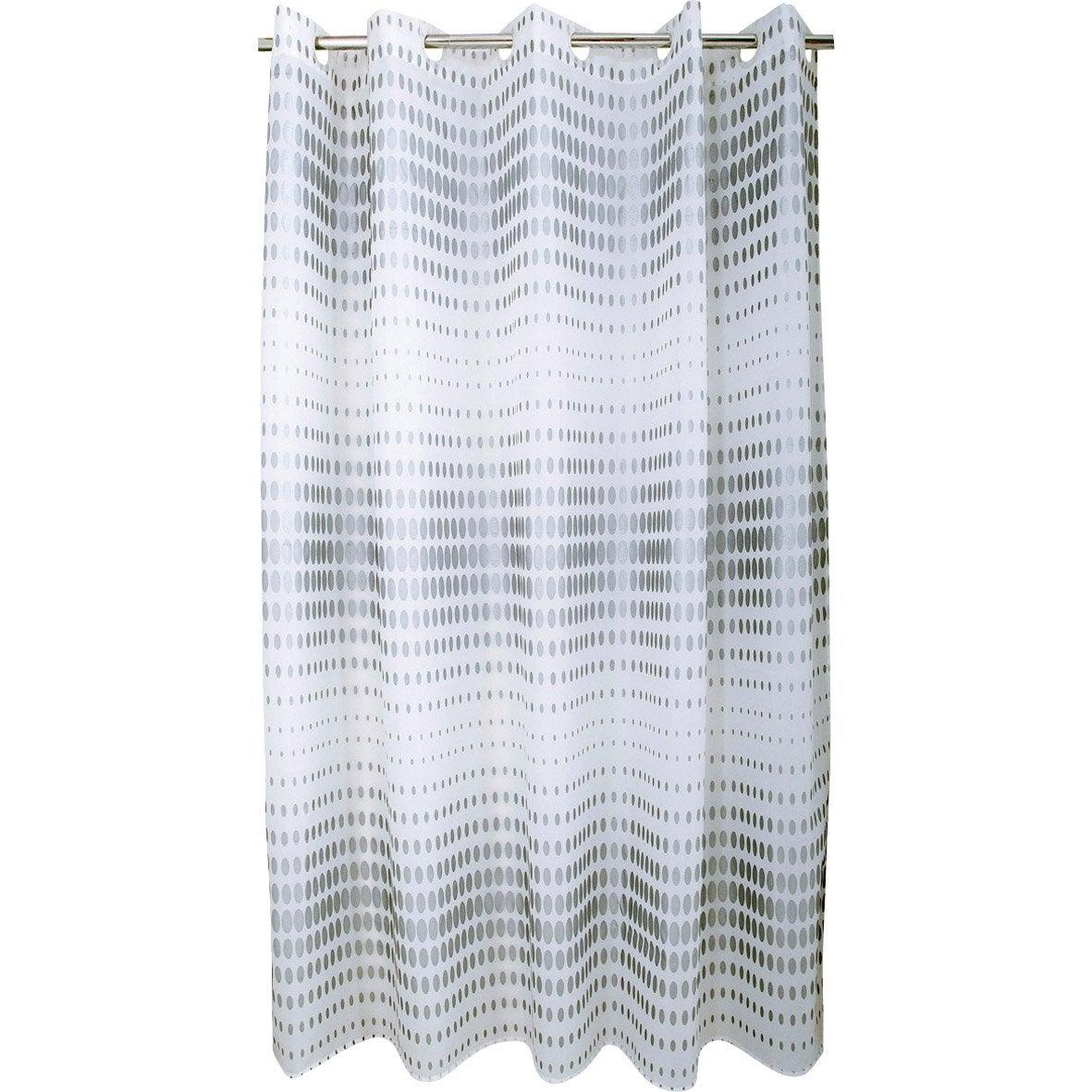 Rideau de douche en textile argent x cm flash sensea leroy merlin - Rideau de douche textile ...