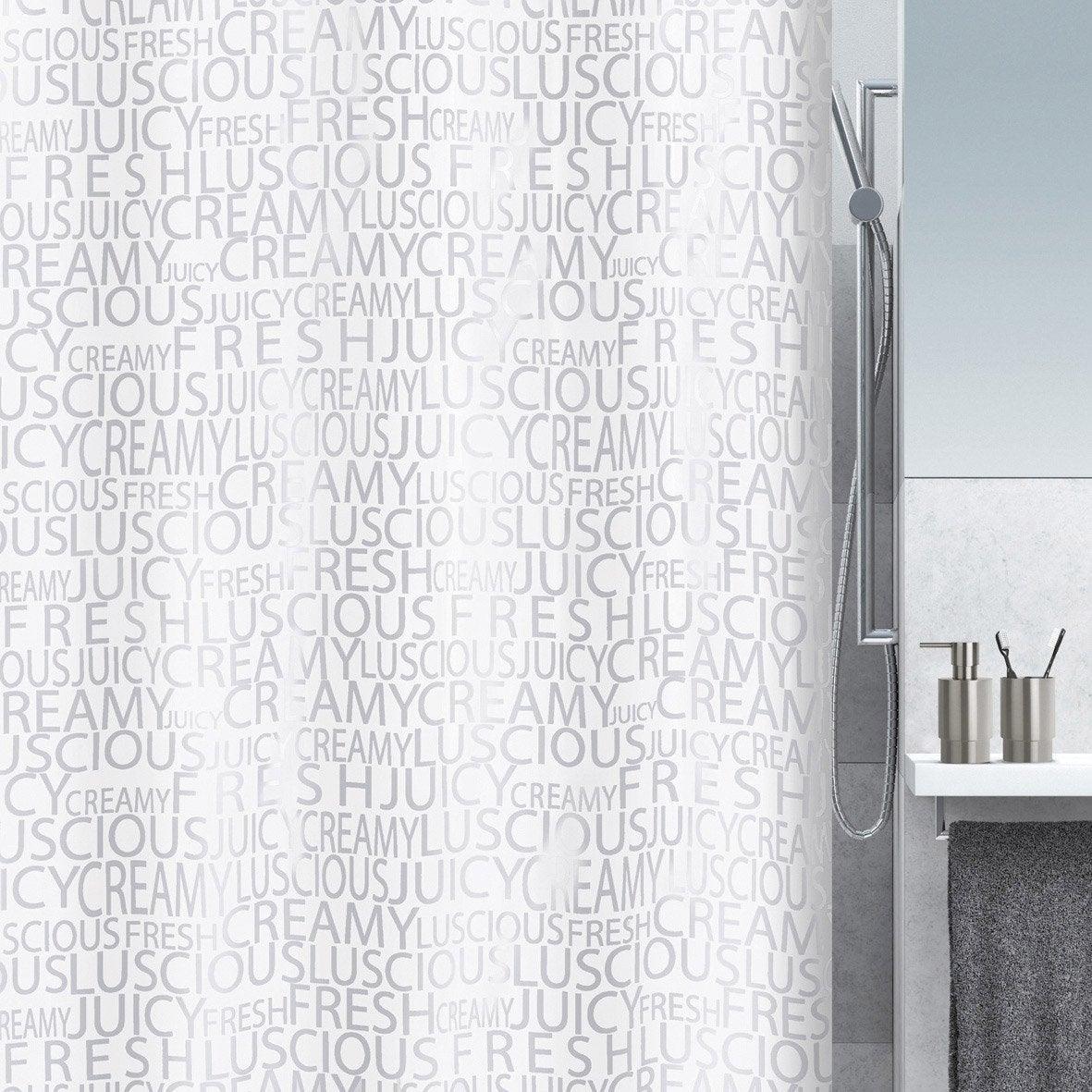 Rideau de douche en textile argent x cm for Rideau de douche colore