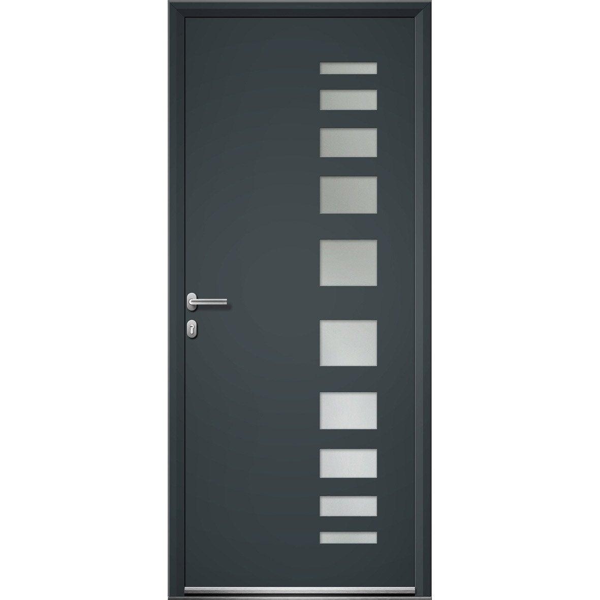 Porte d 39 entr e aluminium portland artens poussant gauche - Porte d entree bois vitree leroy merlin ...