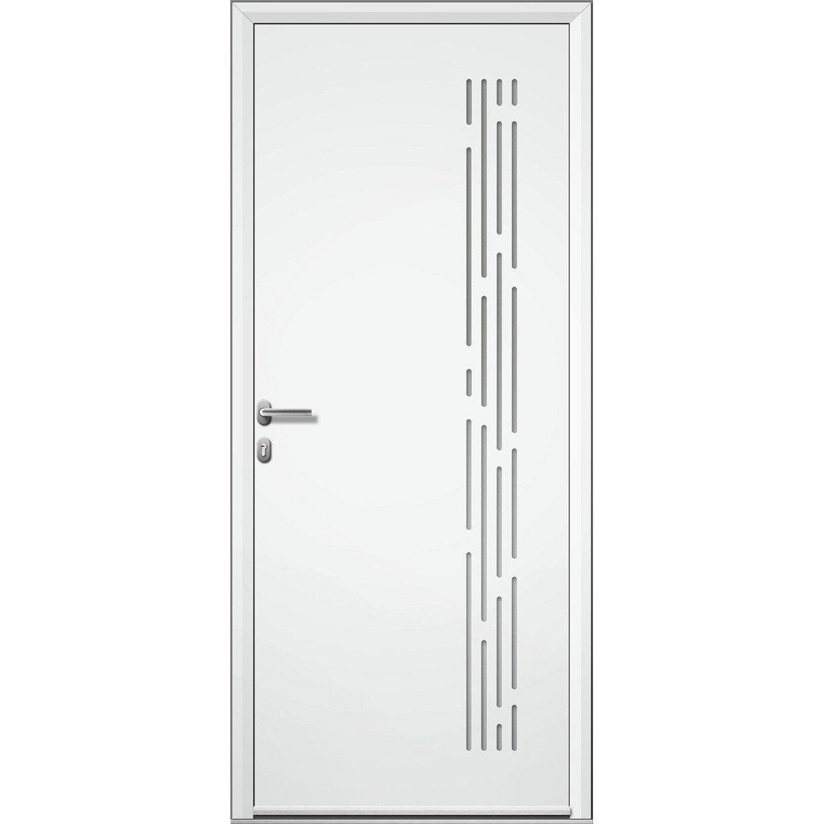 Porte d 39 entr e aluminium nordfolk artens poussant droit h - Leroy merlin porte entree alu ...