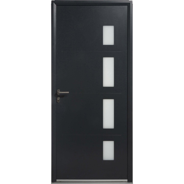 Porte d 39 entr e aluminium austin artens poussant gauche x cm - Leroy merlin porte entree pvc ...